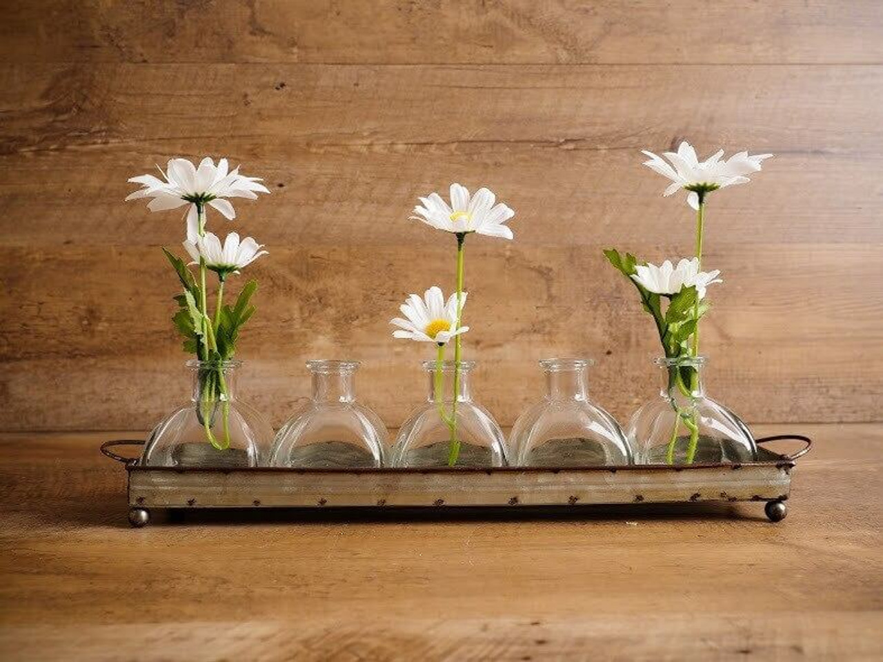Decorative Metal Tray With Five Glass Vases
