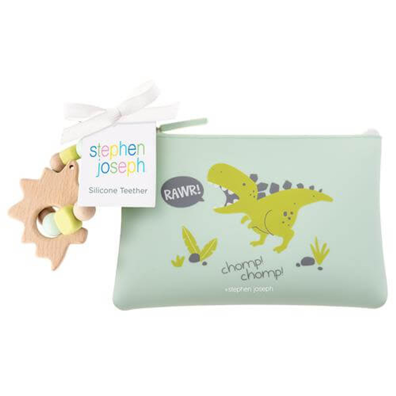 Stephen Joseph silicone wood dino teether pouch