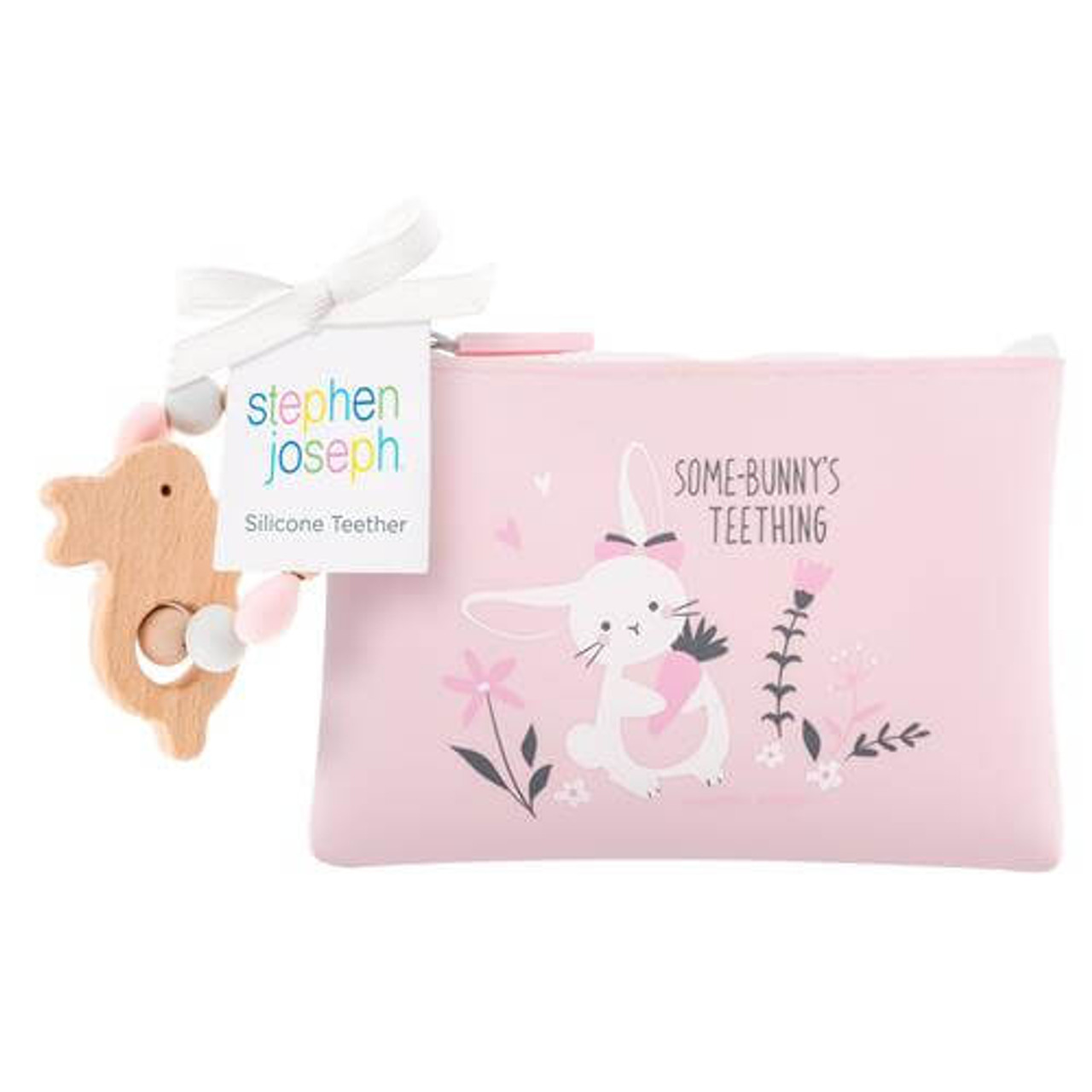Stephen Joseph silicone wood bunny teether pouch