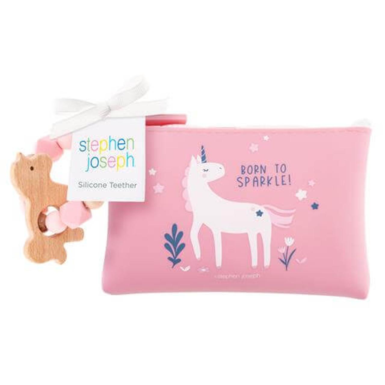Stephen Joseph silicone wood unicorn teether pouch