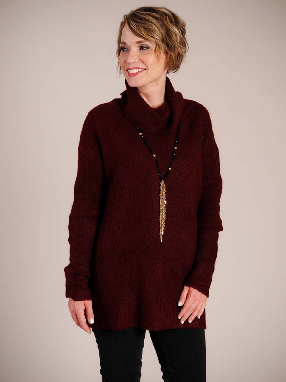 Deep burgundy tunic sweater with cowl neck and long sleeves
