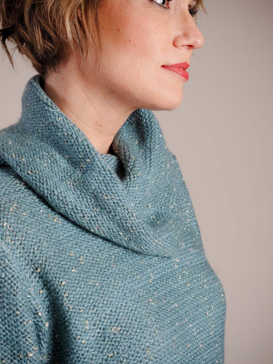 Turquoise cowl neck tunic sweater with soft gold thread detail