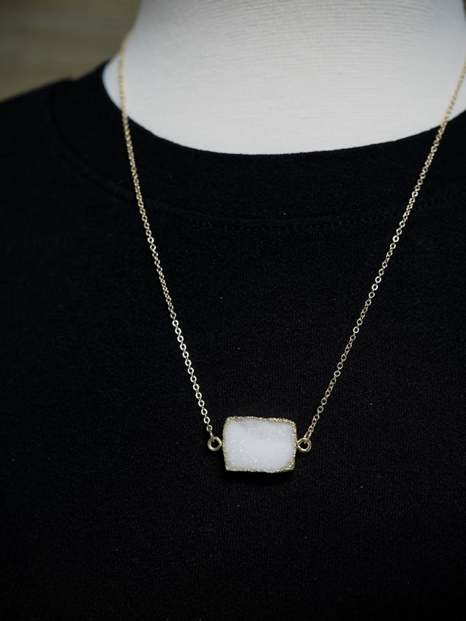 Rectangle Druzy Dainty Necklace