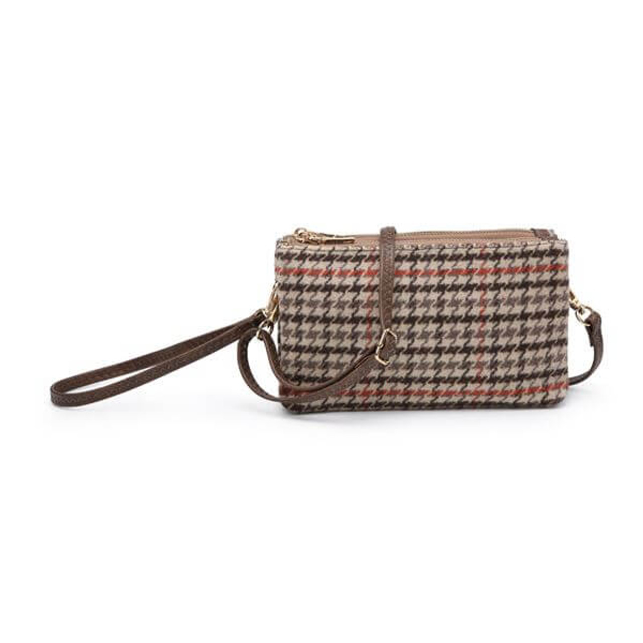Riley camel and coffee houndstooth Wristlet and adjustable crossbody strap included. Three separate interior compartments with six credit card slots. Top zipper closure.