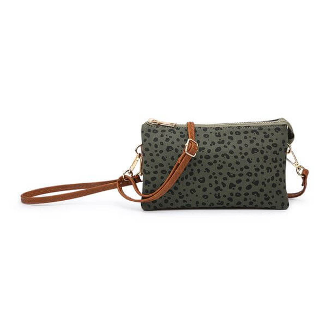 Riley hunter green cheetah canvas Wristlet and adjustable crossbody strap included. Three separate interior compartments with six credit card slots. Top zipper closure.