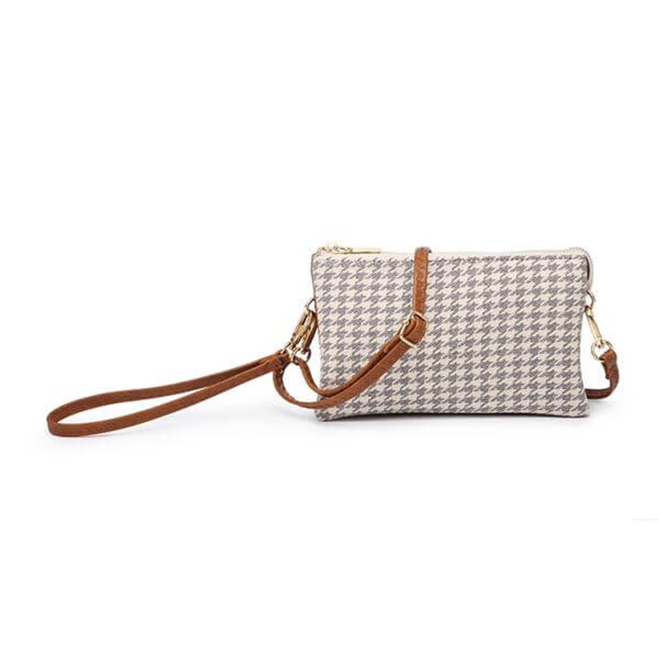 Riley light grey houndstooth Wristlet and adjustable crossbody strap included. Three separate interior compartments with six credit card slots. Top zipper closure.