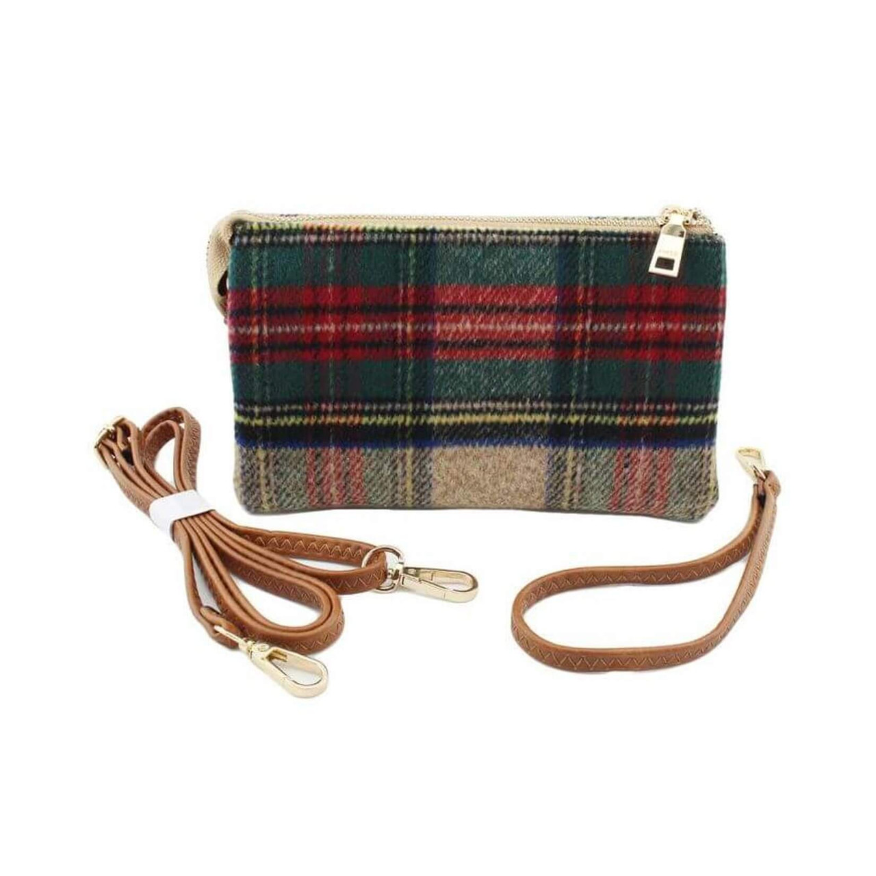 Riley plaid multi wristlet and adjustable crossbody strap included. Three separate interior compartments with six credit card slots. Top zipper closure.