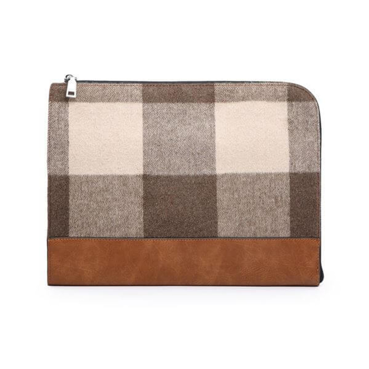 Adele Jen and Co Laptop case clutch brown taupe wide plaid check