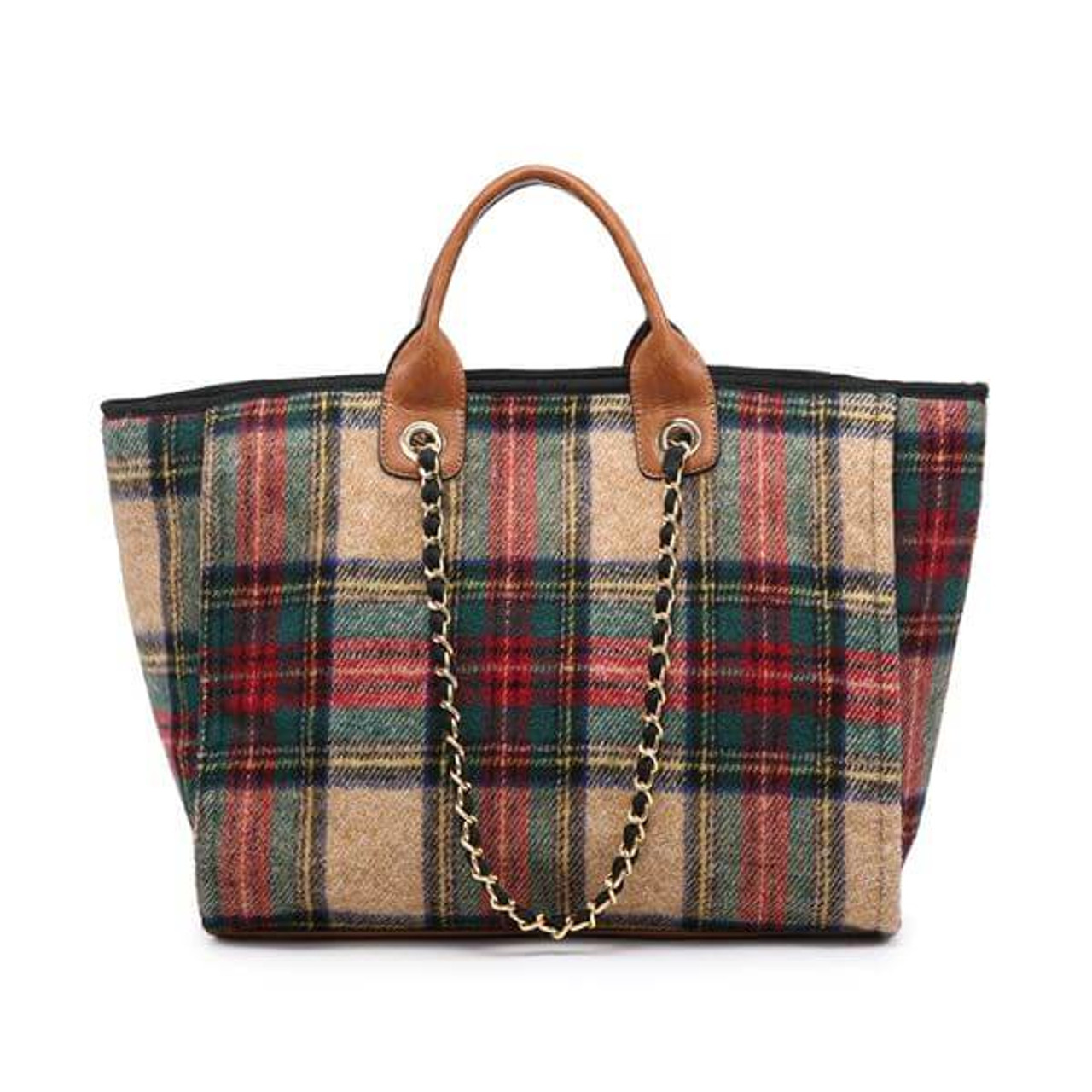 Classic multi-color plaid tote with vegan leather details