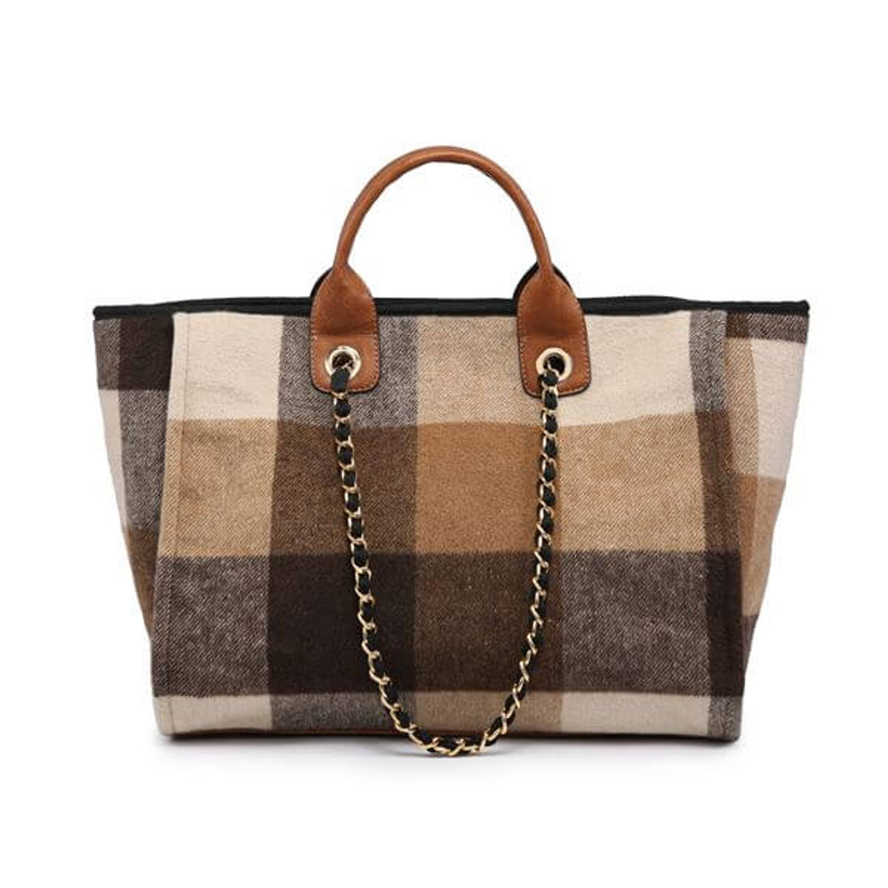 brown taupe wide plaid check tote with vegan leather details
