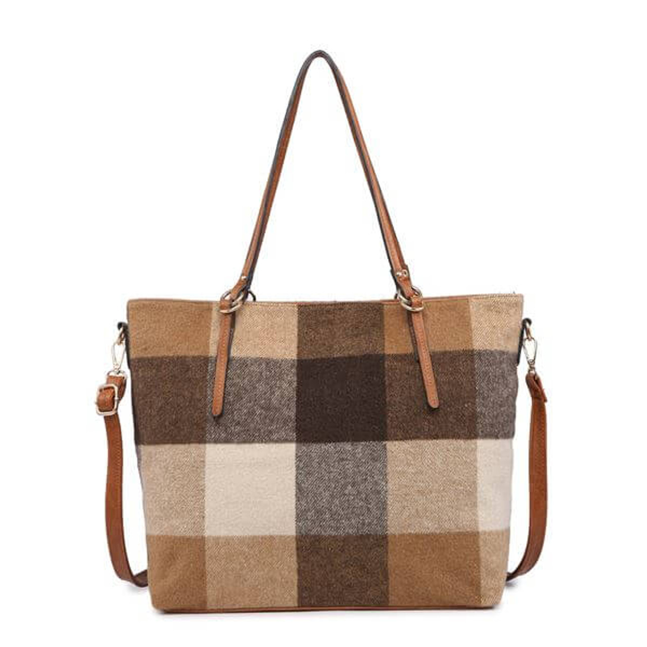 Brown taupe wide plaid check tote bag vegan leather