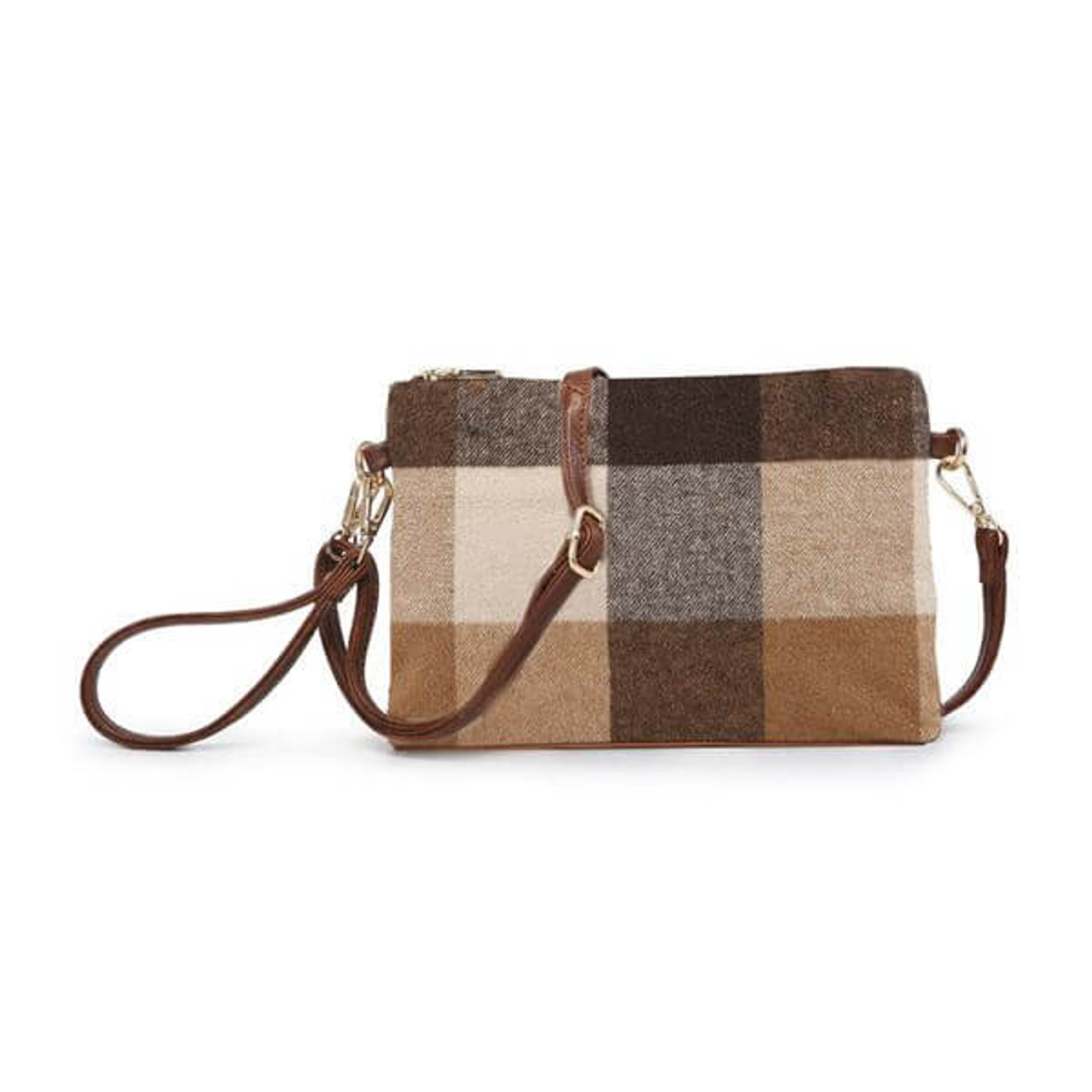 brown taupe wide plaid check wristlet crossbody vegan leather jen and co
