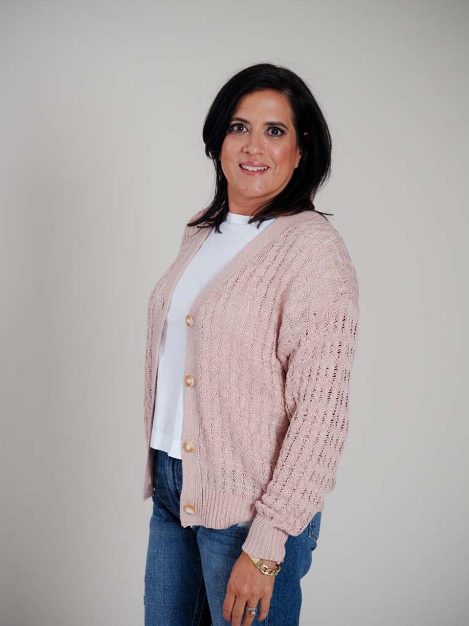 Mauve loose cable knit cardigan