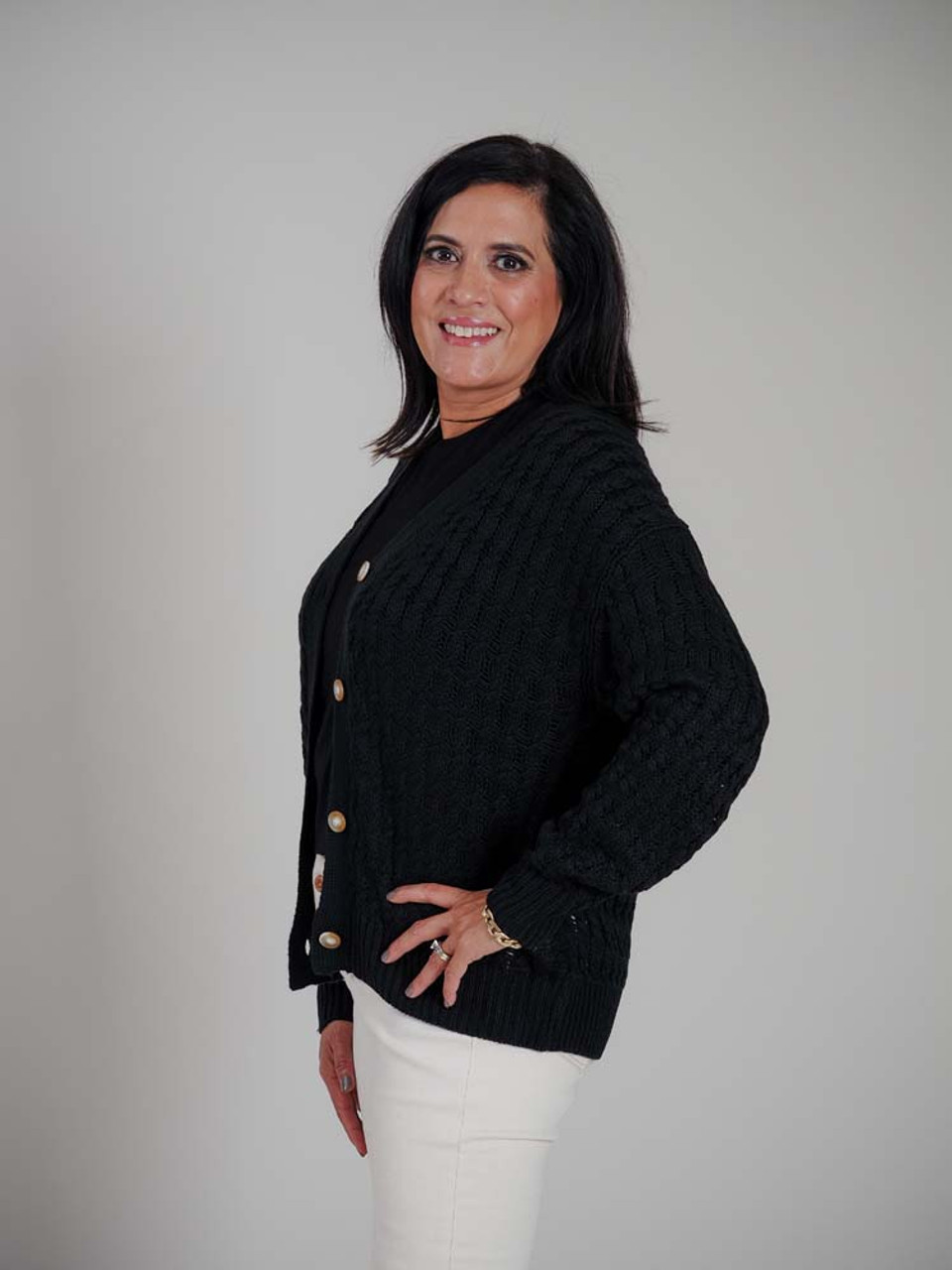 Black loose cable knit cardigans