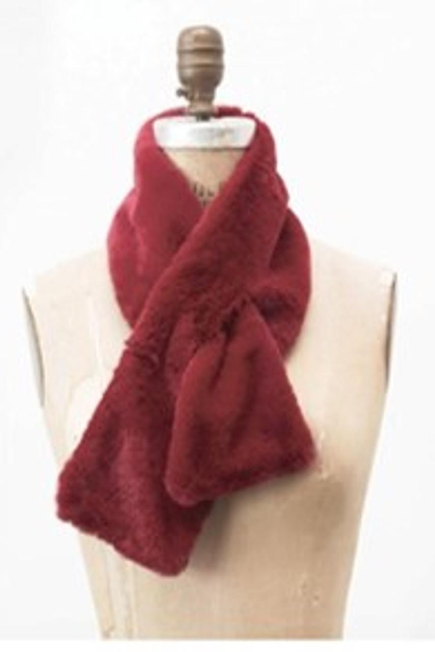 faux fur pull-through scarf