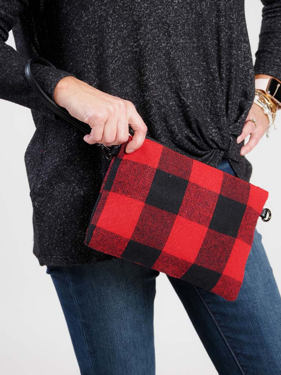 Red and black wide plaid check flannel clutch wristlet crossbody