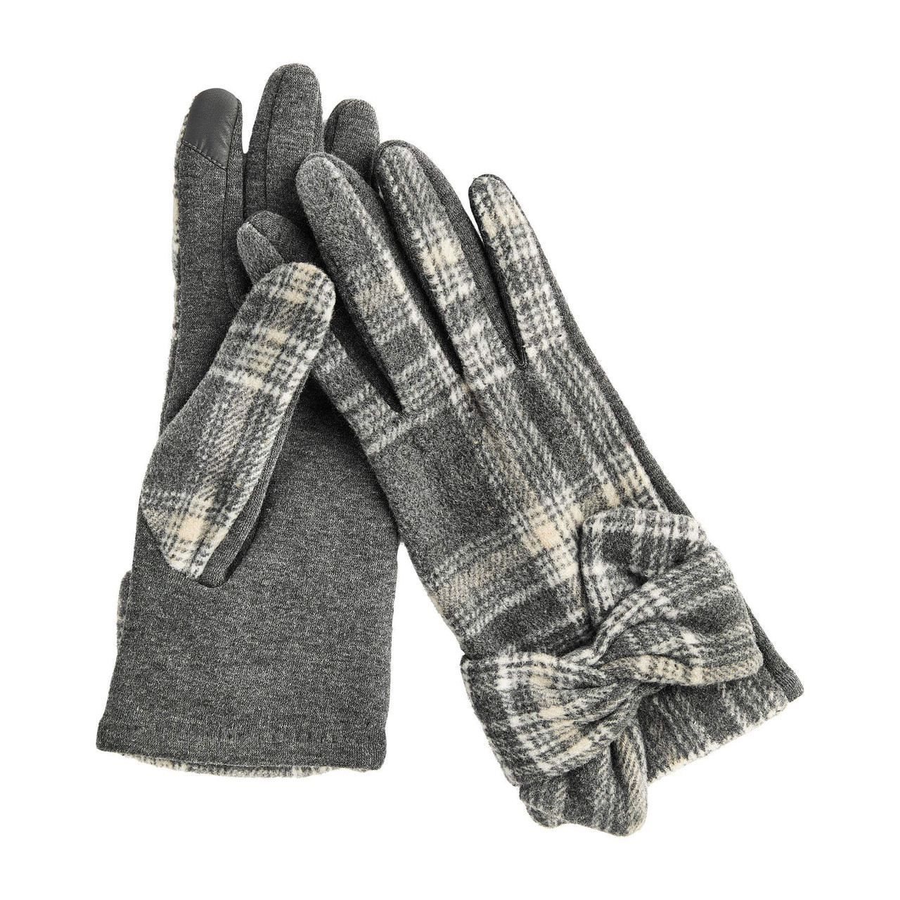Classy and cute soft plaid gloves that feature a knotted detail at wrists, ponte knit palms, and touchscreen technology forefingers and thumbs