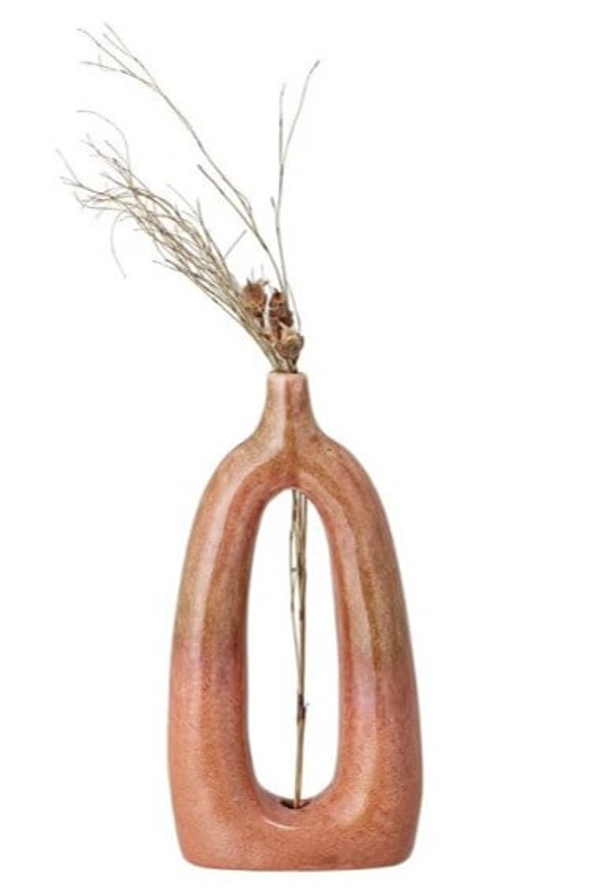 Bloomingville oval open view persimmon reactive glaze stoneware vase