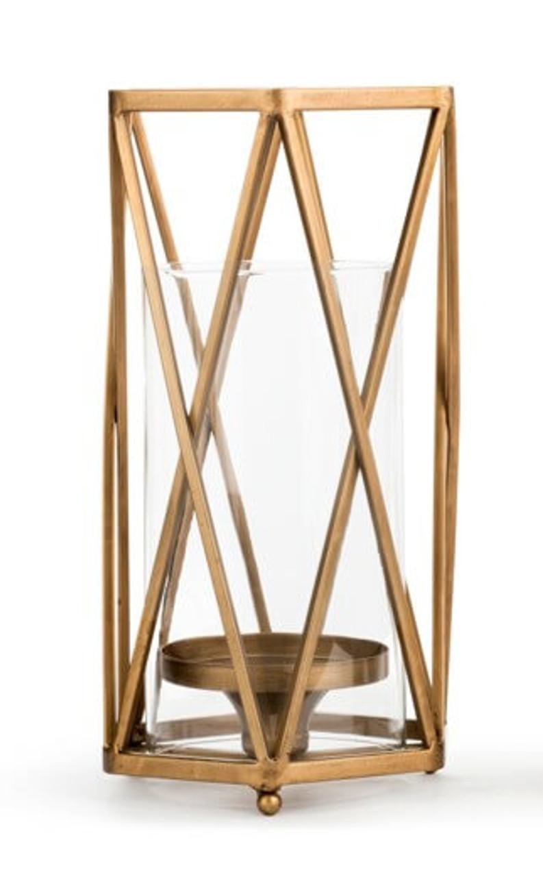criss cross brass hurricane candle holder