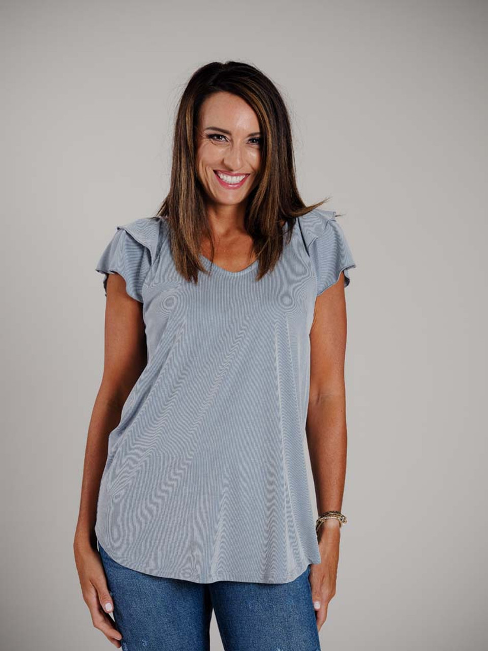Greyish/white and denim blue micro stripe v-neck tunic top with double butterfly short sleeves