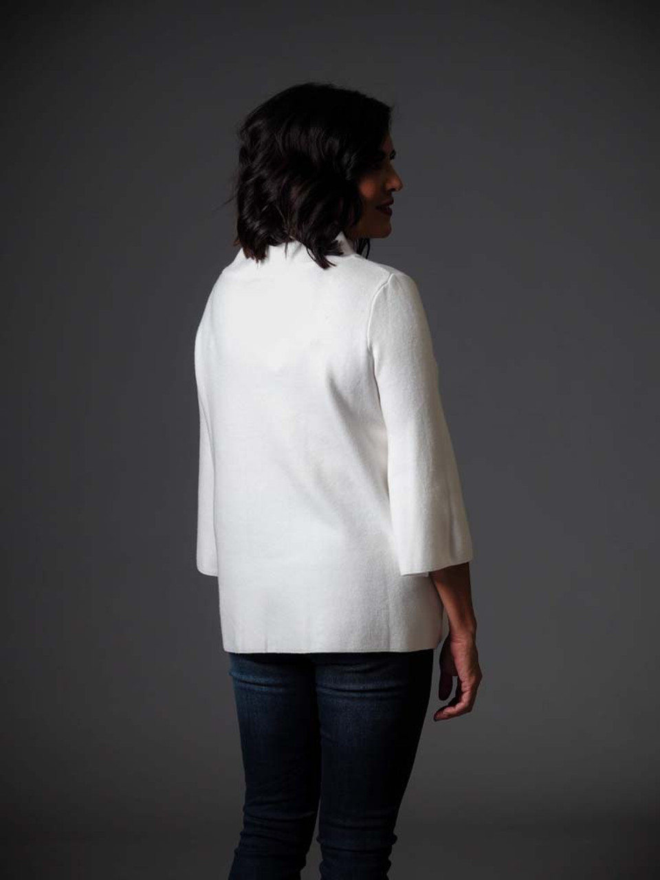 """Winter white sweater with 3/4 length bell sleeves, wide round neck, 2.25"""" colar"""