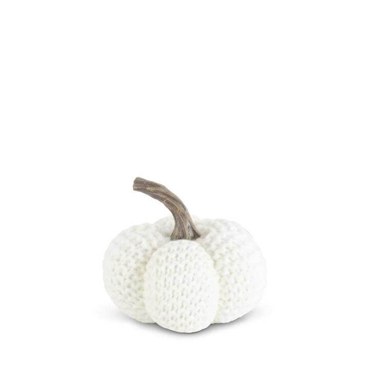 """Creamy white knit stuffed pumpkin with a resin stem and a fresh cozy look. 4.5"""" Round x 3.5"""" H."""