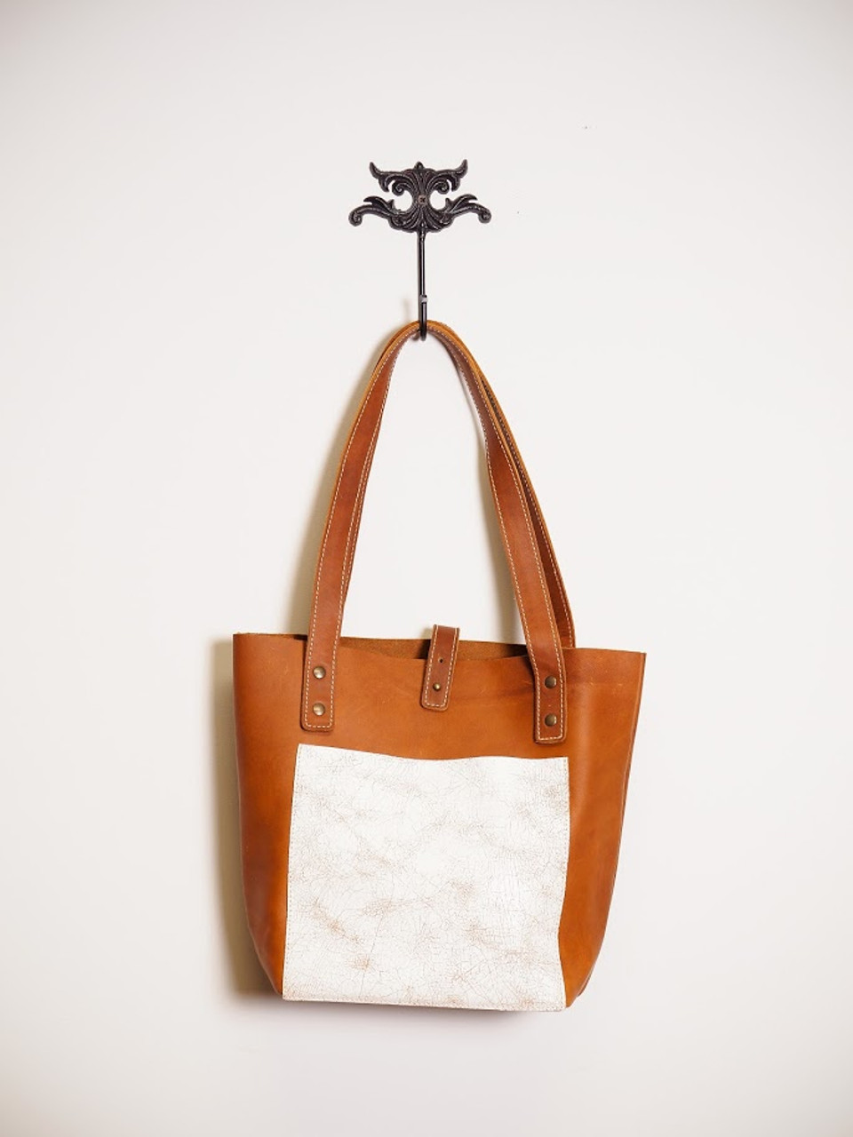 Brown Leather Tote Bag with White, Square Panel