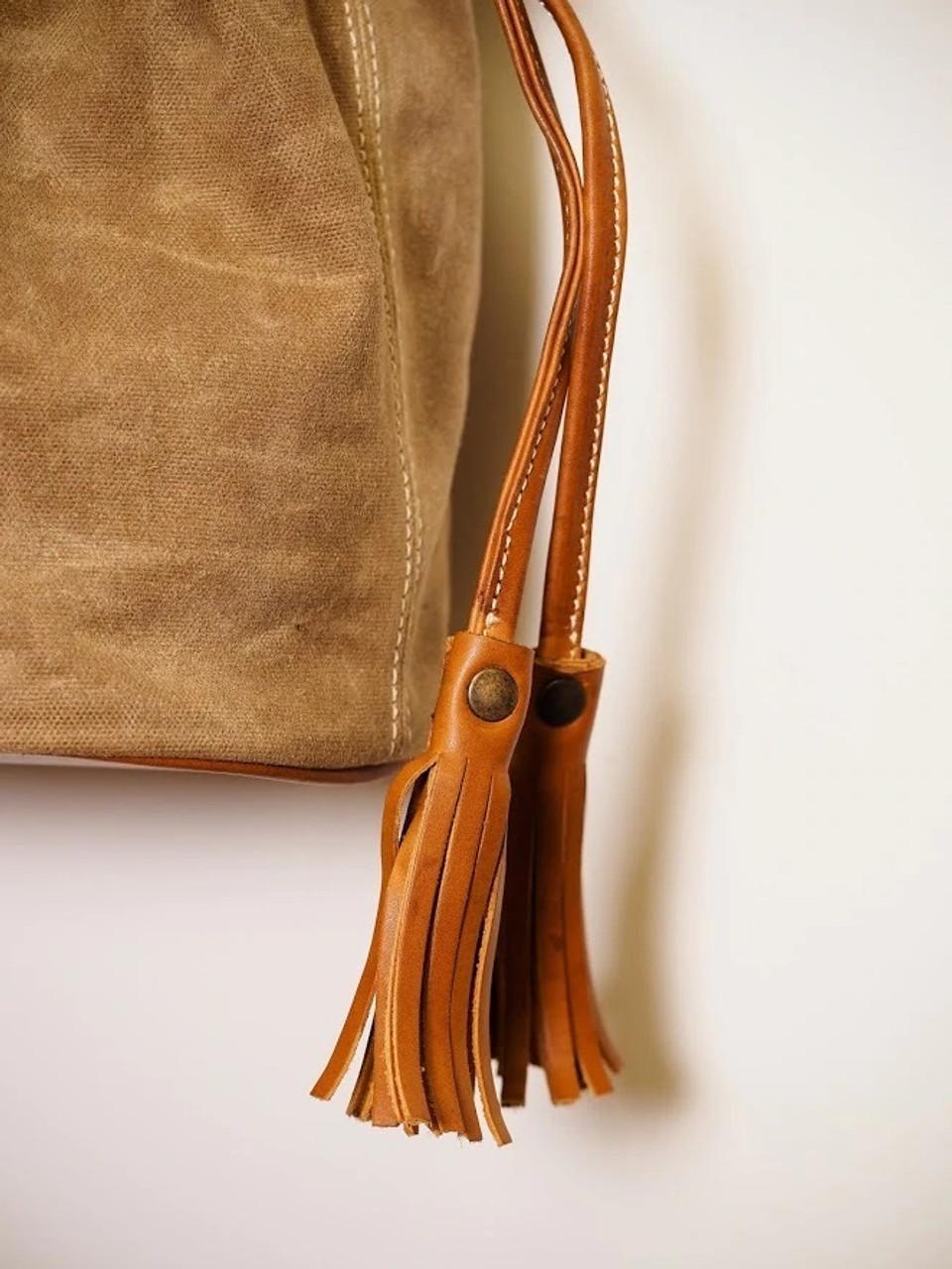 Correa Canvas Bucket Bag in Indio Whiskey & Tan