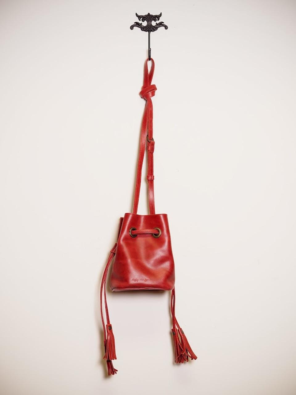 Mini Correa Bucket Bag in Red