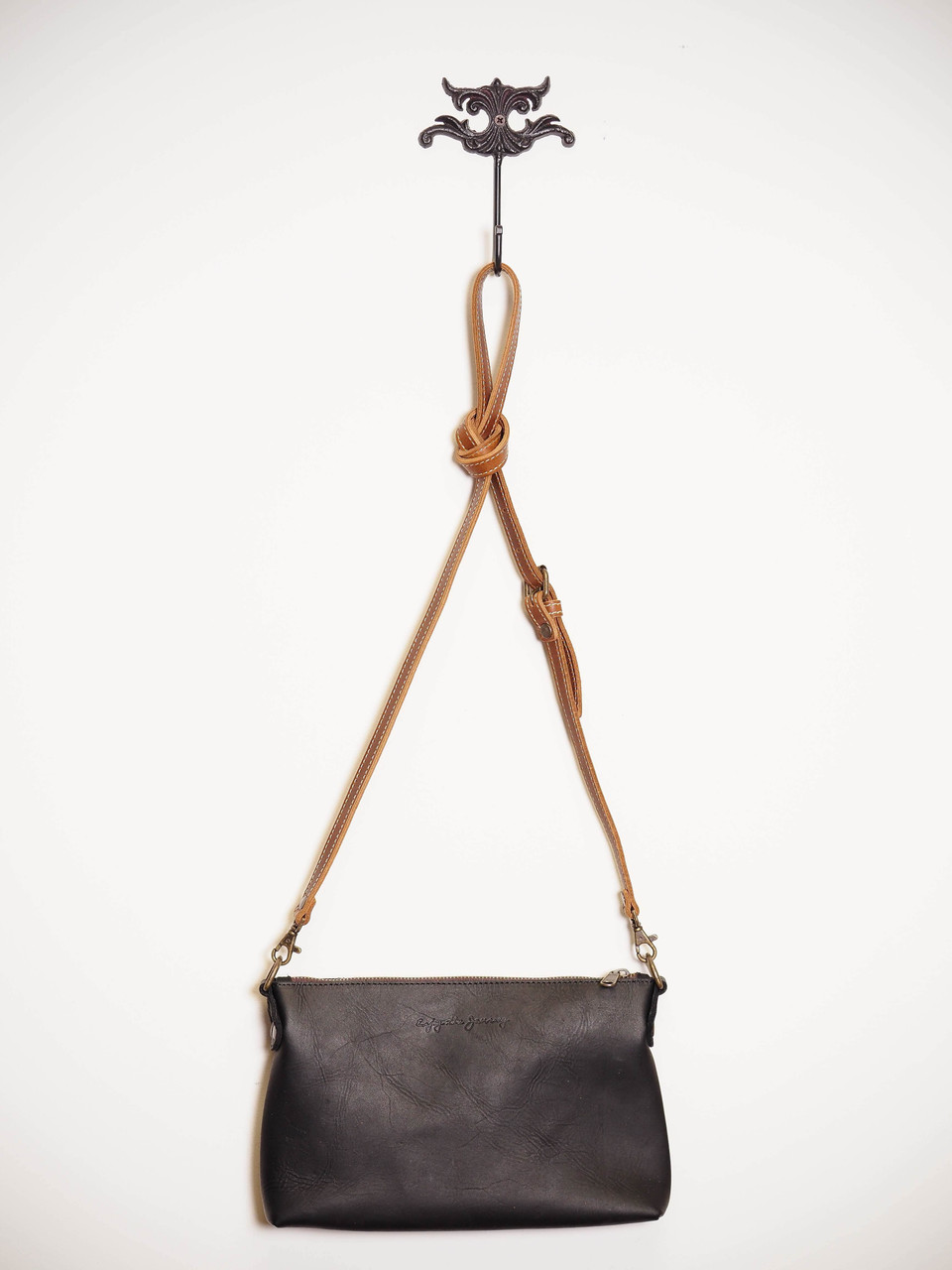 Large Crossbody in Black with Contrasting Indio Whiskey Strap