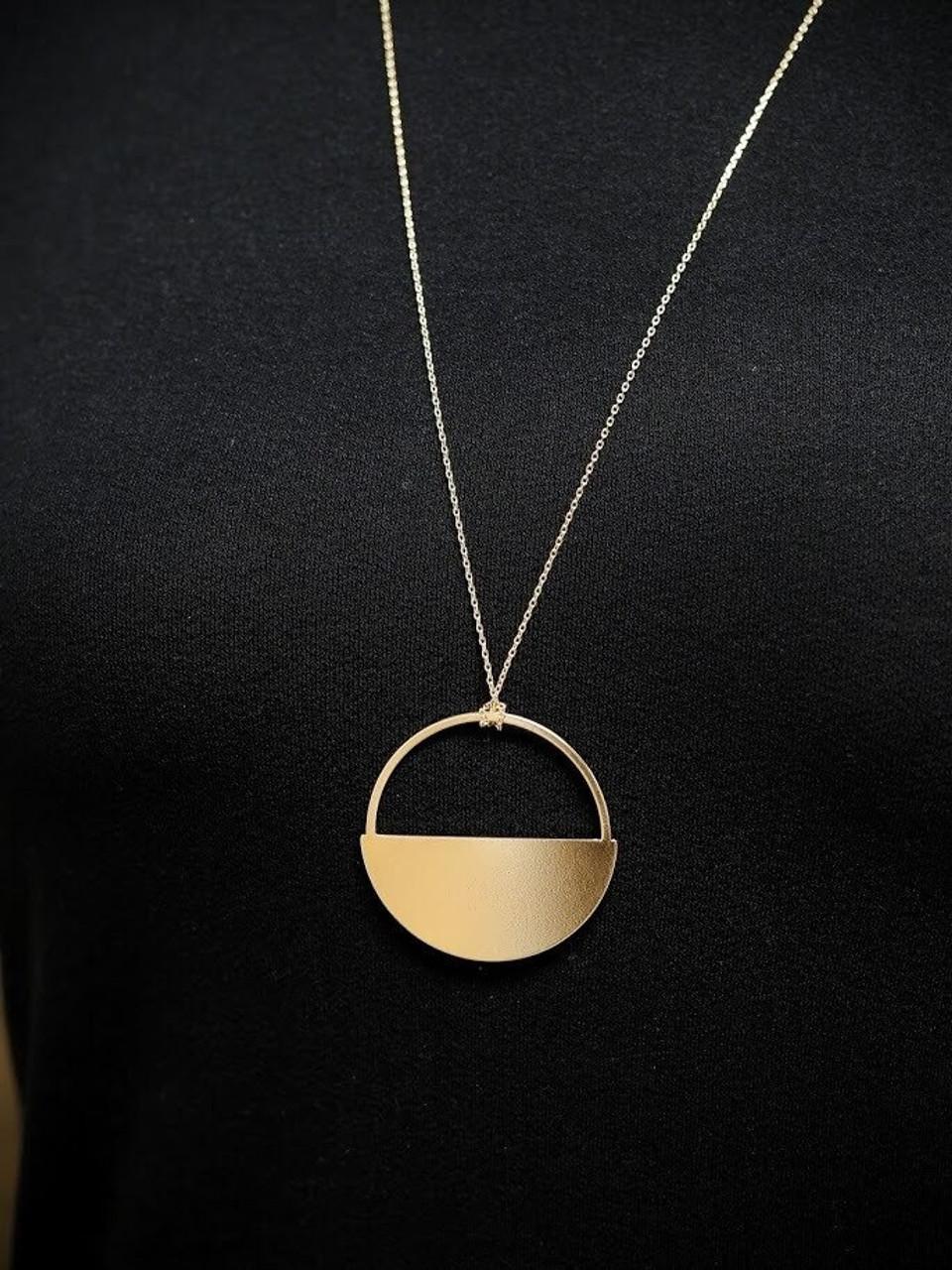 Grace Long Metal Pendant Necklace