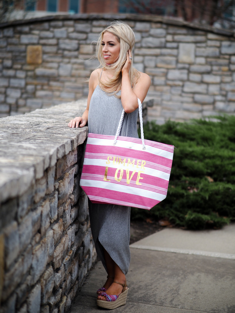 Large Straw Tote - 'Summer Love'