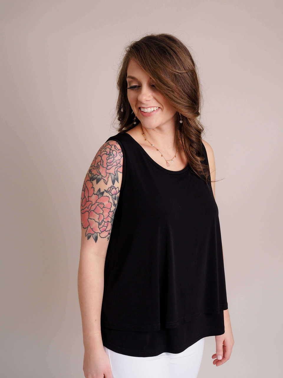 Black Layered Knit Top