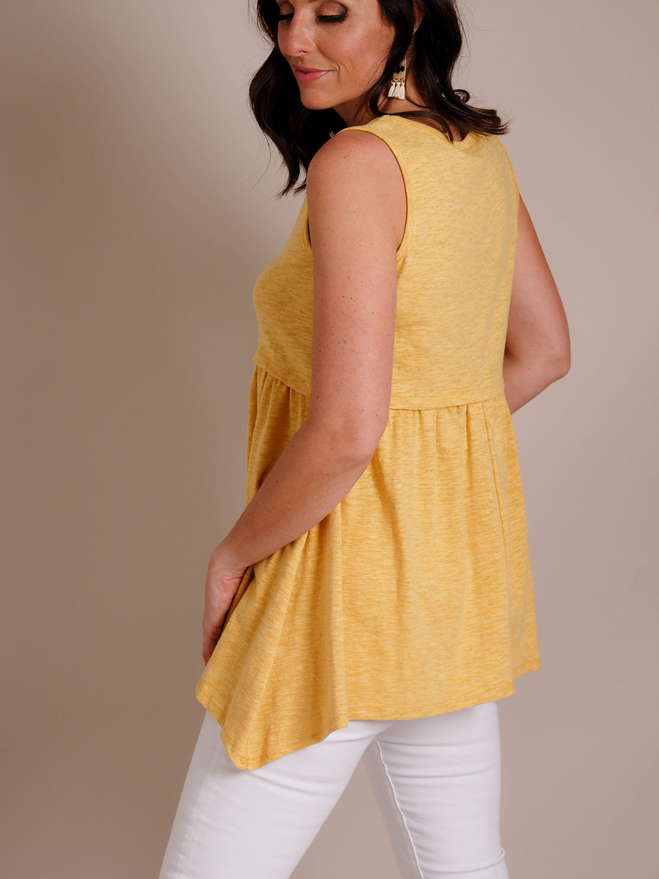 mustard yellow tank top with empire waist