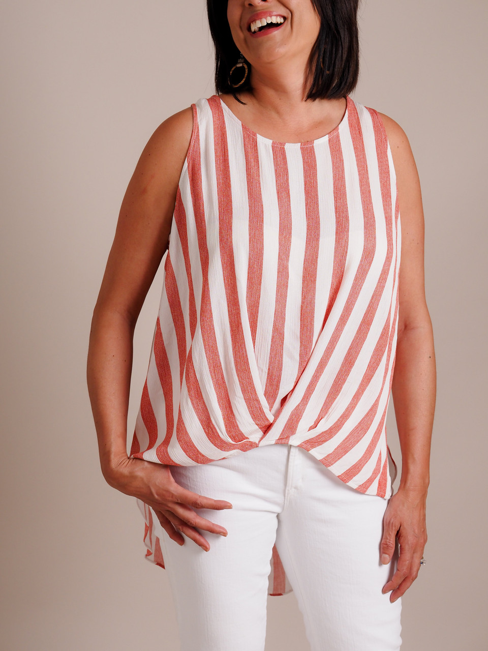 High/Low Sleeveless Top with Gathered Bottom