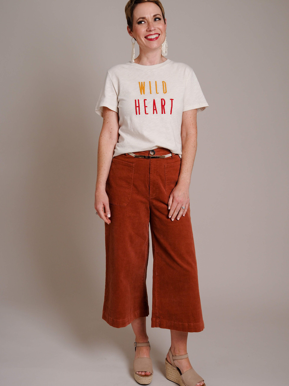 cream wild heart graphic T-shirt