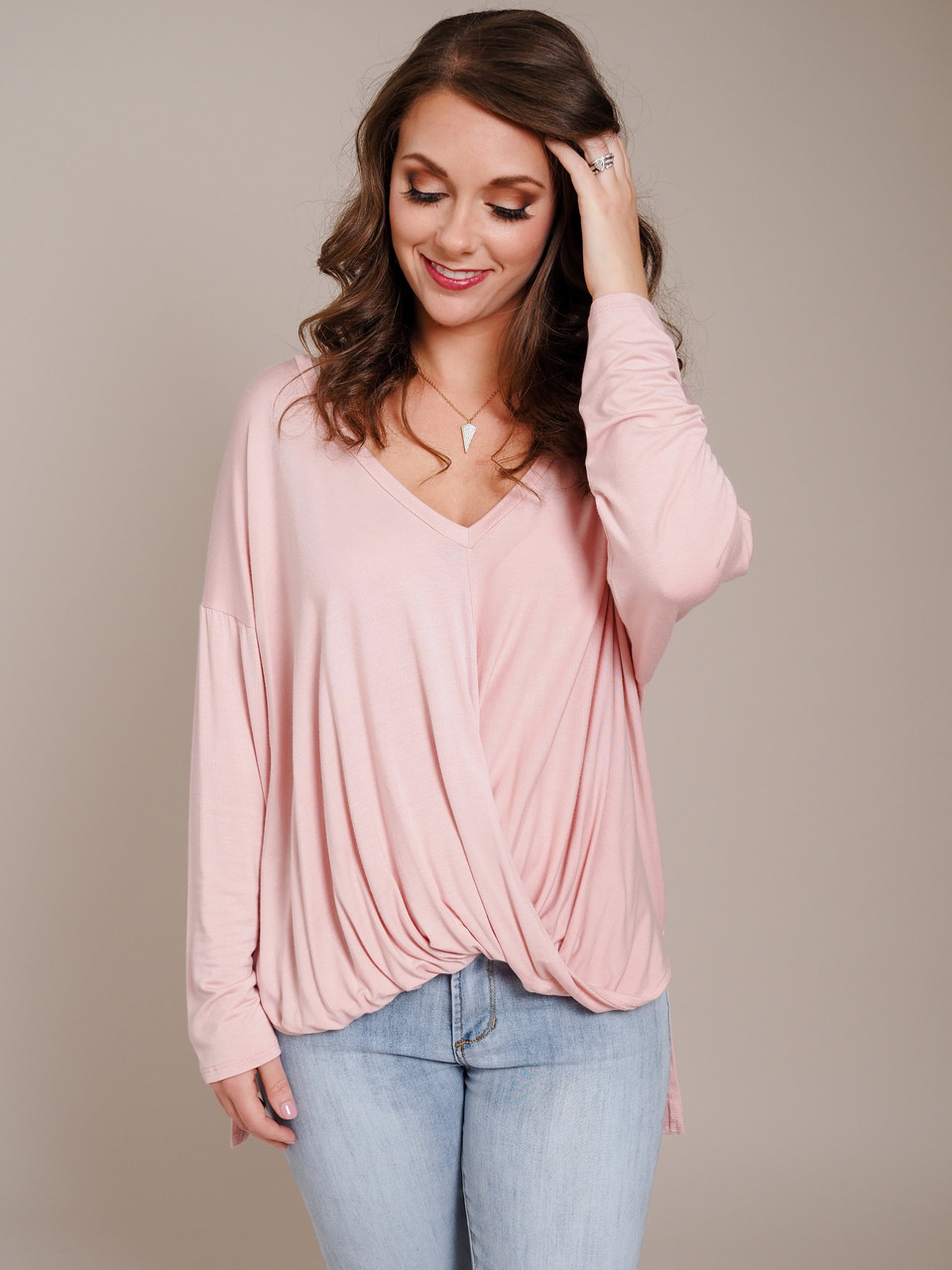 pink high low v-neck gathered waist top