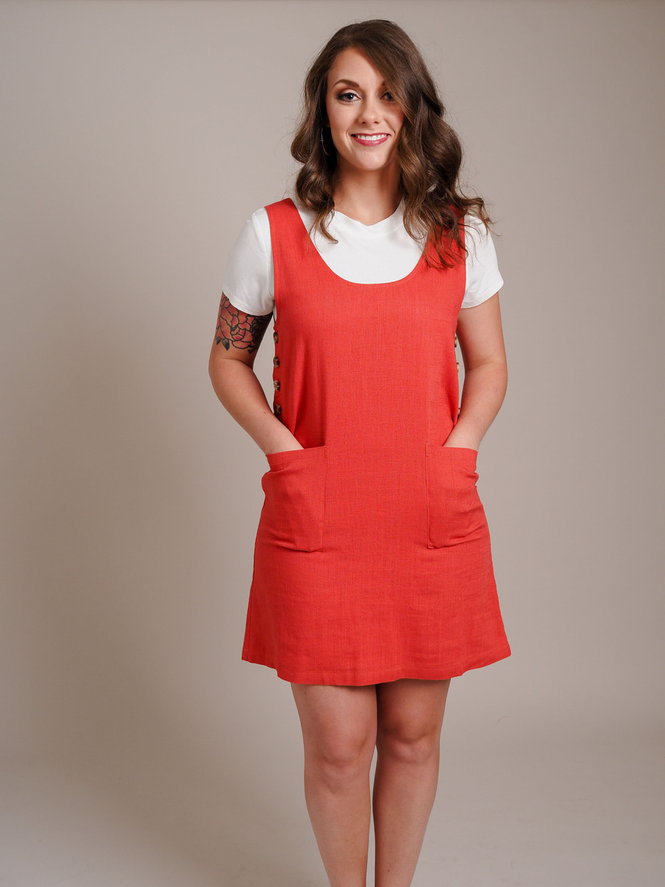 rust colored jumper with pockets