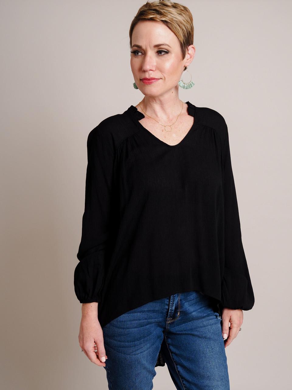 High/Low Tunic With Ruffle Neck Detail