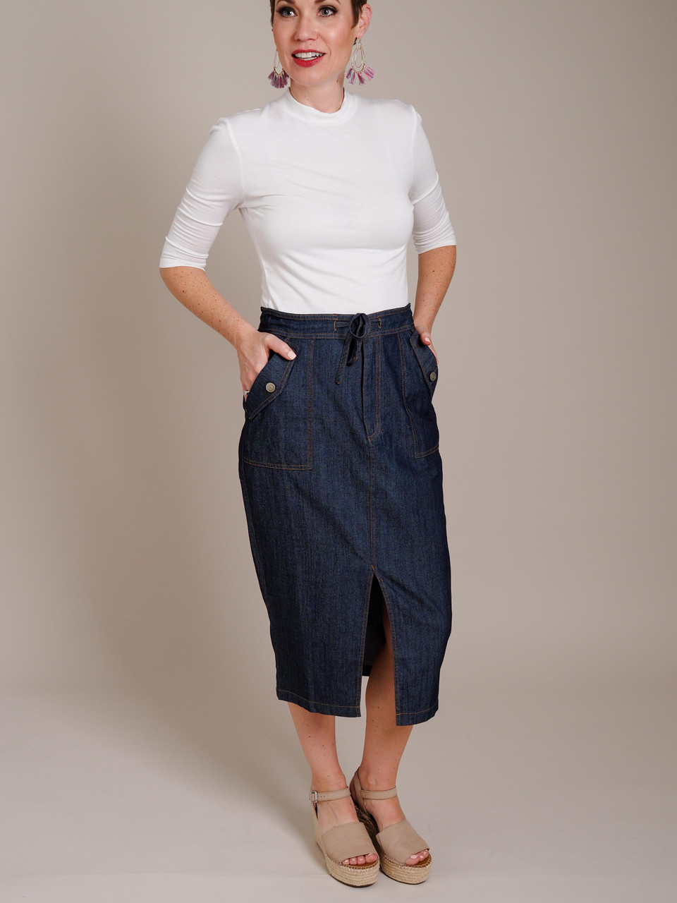 blue denim skirt with slit