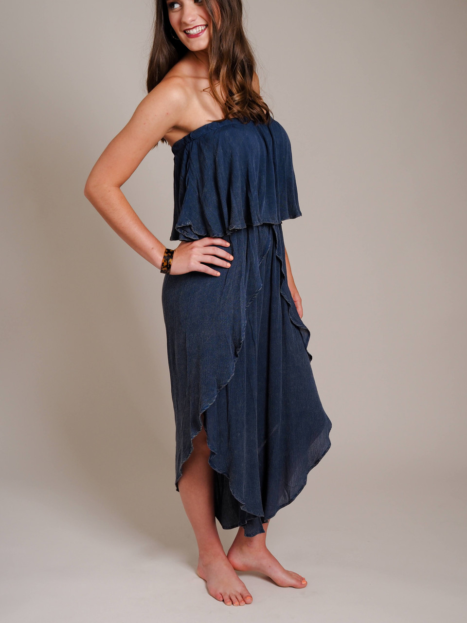 Strapless Jumpsuit with Ruffle Overlay