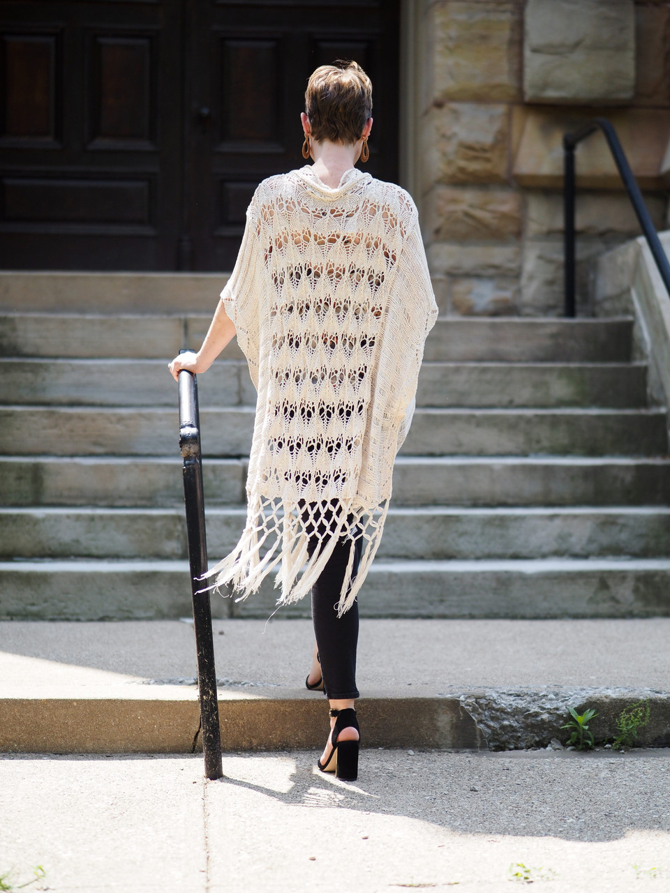 Crocheted Cardigan with Fringe Hem Detail