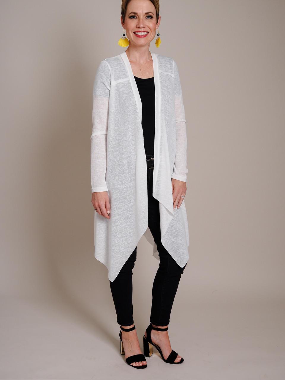 White Cardigan with Asymmetrical Hem