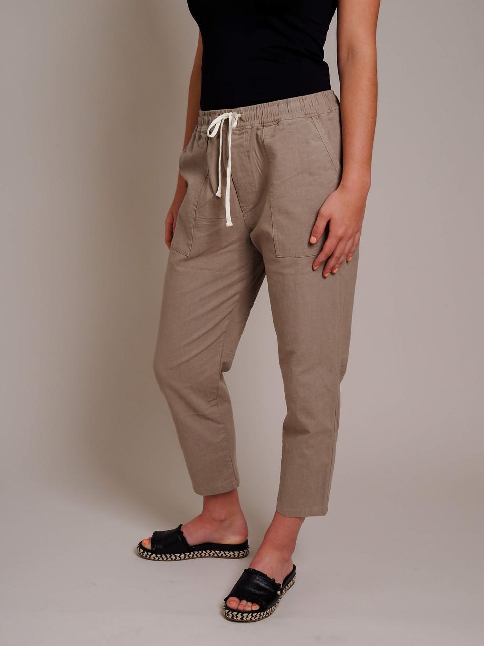 khaki brown drawstring pants
