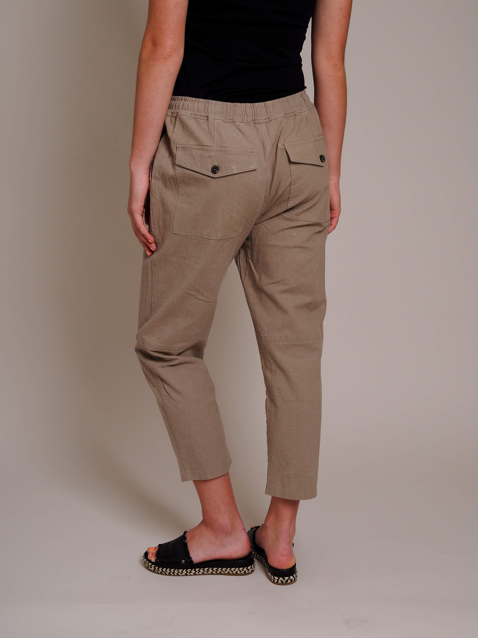 khaki brown drawstring pants