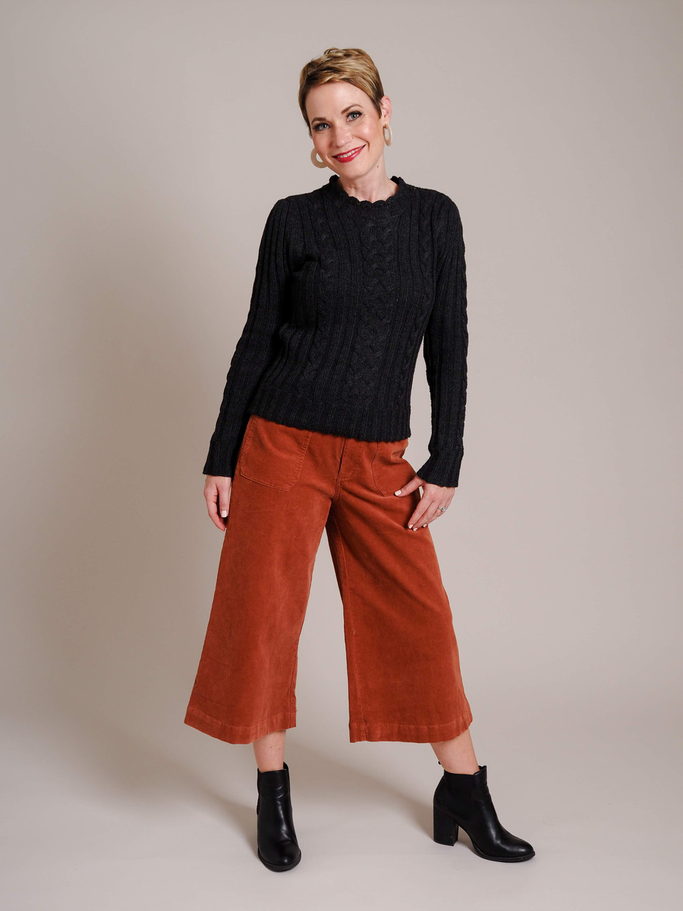 rust colored wide leg corduroy pants