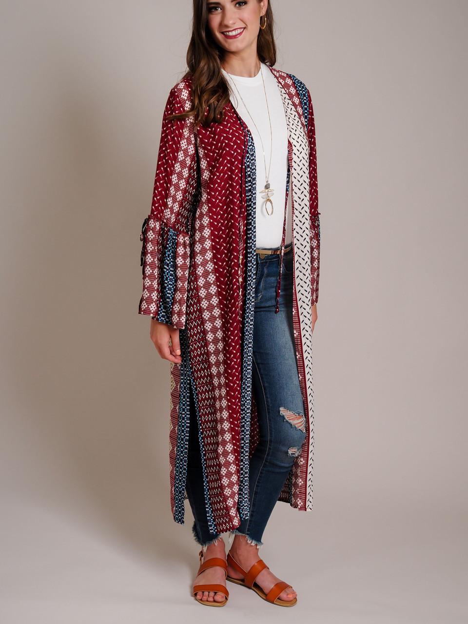multi color rust bell sleeve kimono