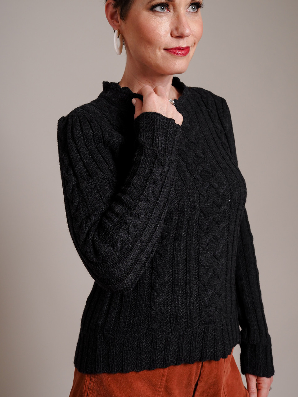 charcoal scalloped sweater