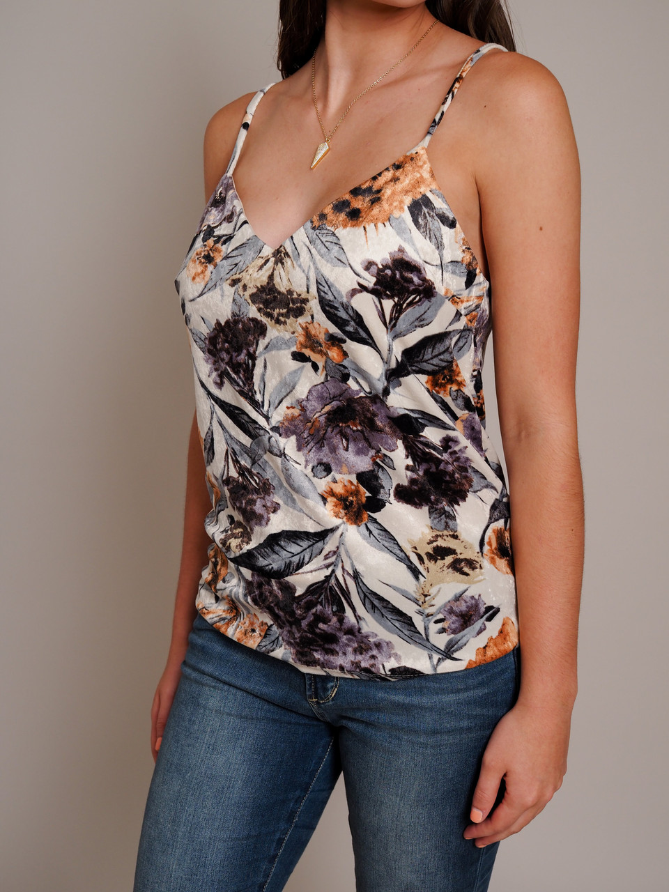 multi color cream purple floral print camisol