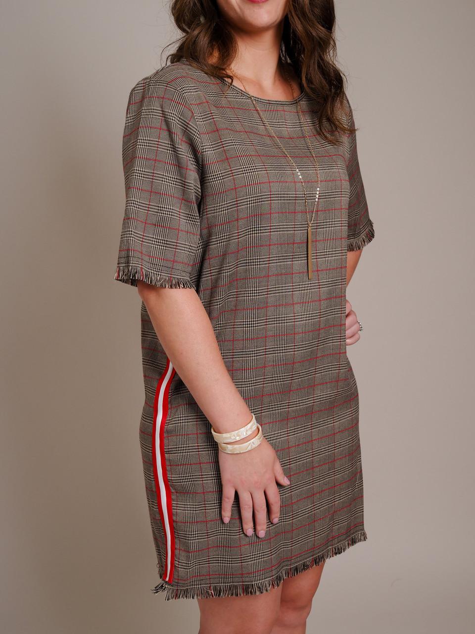 brown racer stripe dress